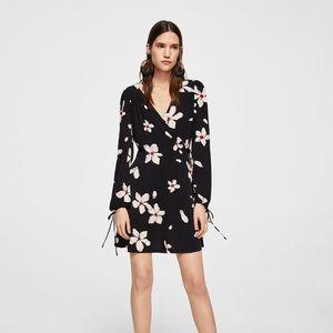 Mango navy floral faux wrap dress size 6